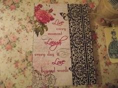 LIve Love  Laught  Journal Demask Design Pink Roses by mslizz, $16.00