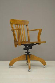 houten bureaustoel wooden desk chair