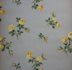 Vintage Wallpaper 1930's Yellow Roses on Blue | eBay