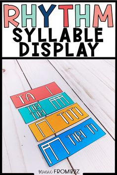 My classroom is filled with displays that my students use for reference. This Rhythm Syllable Display is one of the most used in my classroom! I have them posted right next to my classroom rug so my students are able to see it at all times. Multiple syllable options are included in stick and standard notations! Click through to see more! Learning Sites, Learning Resources, Teacher Resources, Teaching Music, Teaching Tips, Music Classroom, Classroom Decor, Music Flashcards, Curriculum