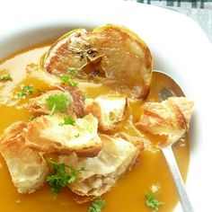 Roasted Apple and Butternut Squash Soup  Croissant Croutons  Merest tad of red wine