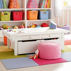 Kids Playroom Organization Ideas - love al these colorful bins.  Bet they are from Land of Nod.