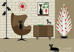 """Christmas Room"" by Donna Mibus: From the Mid Century Modern Cat in Chair Series Christmas Canvas, Christmas Room, Modern Christmas, Vintage Christmas Cards, Retro Christmas, Vintage Holiday, Christmas Boxes, Xmas, Retro Kunst"