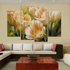 Fashion 4 Panel Wall Art print Painting On Canvas oil painting tulip flower Paintings for living room decoration pictures H109