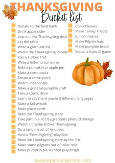 Thanksgiving Bucket List, Thanksgiving Stories, Thanksgiving Parade, Thanksgiving Treats, Fun Fall Activities, Thanksgiving Activities, Bucket List Family, Bucket Lists, Pumpkin Bread