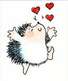 Hedgehog Drawing, Hedgehog Art, Cute Hedgehog, Valentines Watercolor, Watercolor Cards, Animal Drawings, Cute Drawings, Penny Black Karten, Penny Black Stamps