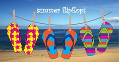 Design your own fabulous flipflops, make several pairs into funky bunting or summer wall art. Free to download