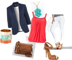 Todays outfit - white skinnies, coral top & navy blazer ... Work / Casual spring outfit...