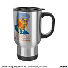 Donald Trump Republican 2016 Travel Mug. 2016 American elections travel mug with an illustration showing American real estate magnate, television personality, politician and Republican 2016 presidential candidate Donald John Trump isolated background. Donald Trump Republican, John Trump, Presidential Candidates, Travel Mug, Personality, Real Estate, Mugs, American, Illustration