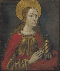 """""""Santa María Magdalena"""" Autor: Maestro de La Seu d'Urgell Pintura Hacia 1495-1498 102,2 x 86,3 x 4,8 cm Museu Nacional d'Art de Catalunya"""
