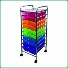 Advantus 10-Drawer Rolling Organizer, 37.6 x 13 x 15.4 Inches, Multi-Colored