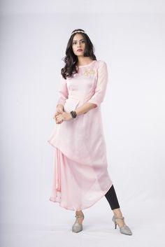 Pink plain satin stitched kurtas-and-kurtis