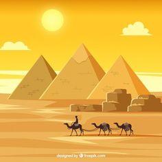Egypt landscape with caravan Free Vector Egypt Games, Travel Brochure Design, Egypt Flag, Nature Paper, Business Cartoons, Tourism Poster, World Geography, Egyptian Symbols, Belle Villa