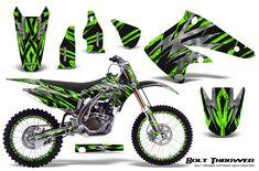 Over 70 designs available from AMR Racing and CREATORX Custom Graphics. Kawasaki Kx 250, Motocross Bikes, Dirt Bikes, Custom Bikes, Bro, Deadpool, Decal, Bicycle, Racing