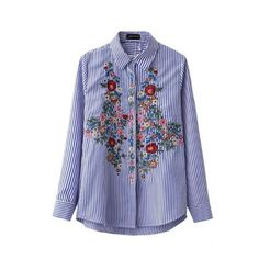 Floral Embroidery Blouse Cotton Women Striped Shirt Long Sleeve Turn down Blue Long Shirts Camisa bordada Blusa feminino-in Blouses & Shirts from Women's Clothing & Accessories