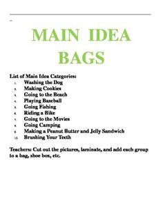 Main Idea Activity Center for Primary Grades