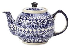 Polish Pottery blue and white stoneware teapot, handpainted  design resembles Fair Isle sweater patterns, made in Poland, c. 2015