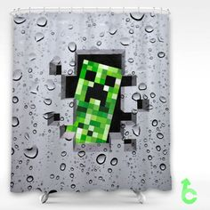 Cheap Minecraft creeper water splash Shower Curtain