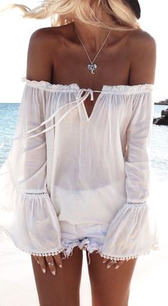 "White Long Sleeve Off The Shoulder Blouse. Diggin"" it."