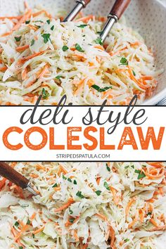 This deli-style coleslaw recipe with mayonnaise dressing is creamy a little bit sweet and a little bit tangy. Its easy to make and great as a casual side or a crunchy topper for burgers and sandwiches. Coleslaw Recipe Easy, Homemade Coleslaw, Creamy Coleslaw, Coleslaw Recipes, Easy Appetizer Recipes, Lunch Recipes, Salad Recipes, Vegan Recipes, Best Side Dishes