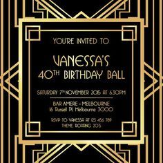Great Gatsby Party Invitations Templates Free Download Birthday