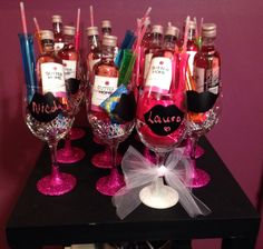 Pink Bachelorette party glitter wine glass party favors with chalkboard vinyl