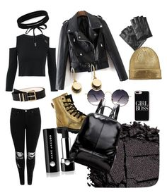 BLACK & GOLD PUNK×STREET by srbovoro on Polyvore featuring polyvore fashion style Boohoo Gotta Flurt Marc Jacobs Karl Lagerfeld Casetify Spitfire Calvin Klein Urban Decay clothing