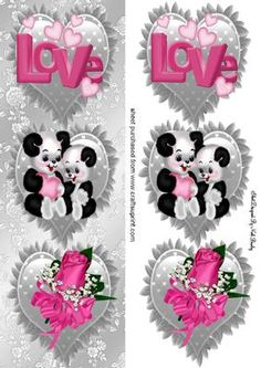 Love pandas with pink rose on silver frill hearts DL on Craftsuprint - Add To Basket!