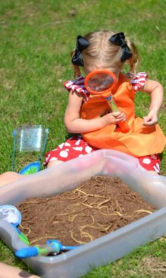 """Digging for """"worms"""" - a fun activity that will have the kids laughing and screeching"""