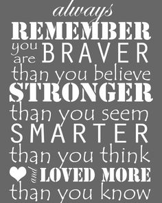 Always Remember, you are braver, stronger, smarter, childrens and babies room decor, printable sign, 8x10 or 5x7, winnie the pooh quote