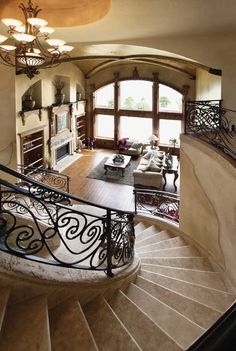 Obviously not this big, but love the idea and the openness. Spiral stairs into the living area. Mediterranean House