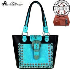 Montana West Rivet Blk Turquoise Concealed Handgun CCW Handbag Purse Cowgirl  #MontanaWest #ShoulderBag