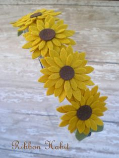Sunflower Felt Flowers Headband for Girls Teens by Ribbonhabit