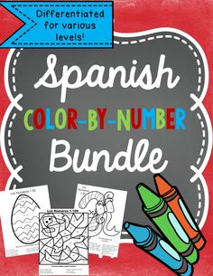 Practice Spanish colors and numbers 1-10, 1-20 and 1-100. Includes seasonal and year round color by number pages.