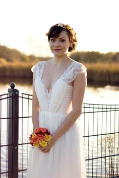 Silk, Lace, Satin and Chiffon Romantic Wedding dress By UK designer Katherine Kerrison Custom made beach wedding. £600.00, via Etsy.