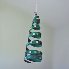 Cardboard Tube Coiled Christmas Tree Ornament with Sequins- LOVE this!