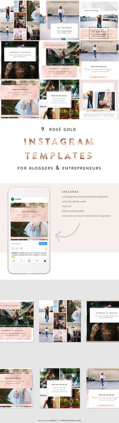 Rosé Gold Instagram Photoshop Templates // This Package is made for bloggers (lifestyle, fashion, etc.) or solorpreneurs who want to bring their instagram presence to a new level.