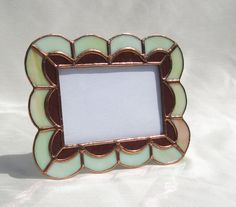 Stained Glass Frame Cream and Brown Scalloped 4 x by hobbymakers