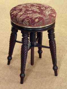 "Good quality Regency mahogany piano stool (England). Item Stock Code: 3727. 20.08"" high. Diameter 12.99"". Good quality Regency mahogany piano stool, revolving height adjustable stuff over seat with half round brass mould raised on twist reeded legs. Price GBP 640.00."