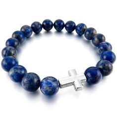 Women,Men's 10mm Alloy Energy Bracelet Link Wrist Energy Stone Blue Silver Cross Lapis Lazuli Buddha Mala Bead Elastic *** Learn more by visiting the image link.