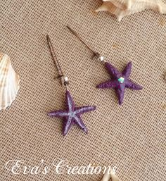 deep purple and silver starfish earrings Starfish Earrings, Summer Jewelry, Deep Purple, Summer Collection, Silver, Handmade, Hand Made, Craft, Silver Hair