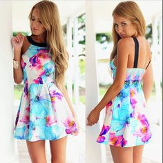 Women Sexy Summer Beach Dress Casual Sleeveless Evening Party Short Mini Dress #Unbranded #Sexy #Casual