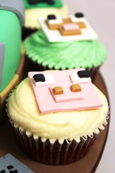 Bespoke cupcakes available to order for pick-up or delivery in Wellington, NZ Minecraft Cake Toppers, Minecraft Cupcakes, Kid Cakes, Sweet Bakery, Sweet Cupcakes, Cake Designs, Cake Ideas, Fondant, Cravings