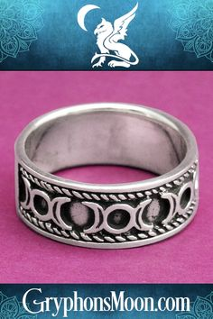 Waxing and waning crescents surround the full moon, evoking the three aspects of the Goddess: Maiden, Mother, and Crone. Made of sterling silver. Triple Goddess Symbol, Goddess Symbols, Triple Moon Goddess, Moon Symbols, Pagan Symbols, Witch Jewelry, Pagan Jewelry, Pagan Shop, Pagan Beliefs