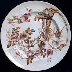 Aesthetic Brown Transferware Plate ~ PHEASANTS 1885