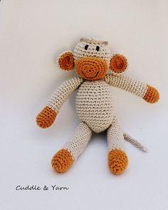 Crochet Baby Monkey Tiny Monkey Amigurumi Toy by CuddleandYarn