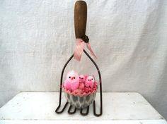 Primitive Easter Decor Vintage Tin Basket