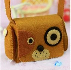 Cute Brown Puppy Camera Bag/ Phone Bag/ Coin Purse/ Multipurpose Bag with Shoulder Strap DIY Felt Craft Kit OR Finished Product Felt Crafts Diy, Sewing Crafts, Sewing Projects, Felt Dogs, Felt Material, Handbag Patterns, Felt Fabric, Felt Hearts, Kids Bags