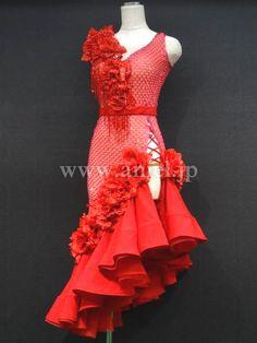社交ダンスドレスのドレスネットアニエル / L2948・赤&ピンクネット
