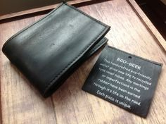 Perfect for the Eco Geek! £10.00 Recycled car tyre inner tubes wallet - handmade by Fair Trade producers in India.